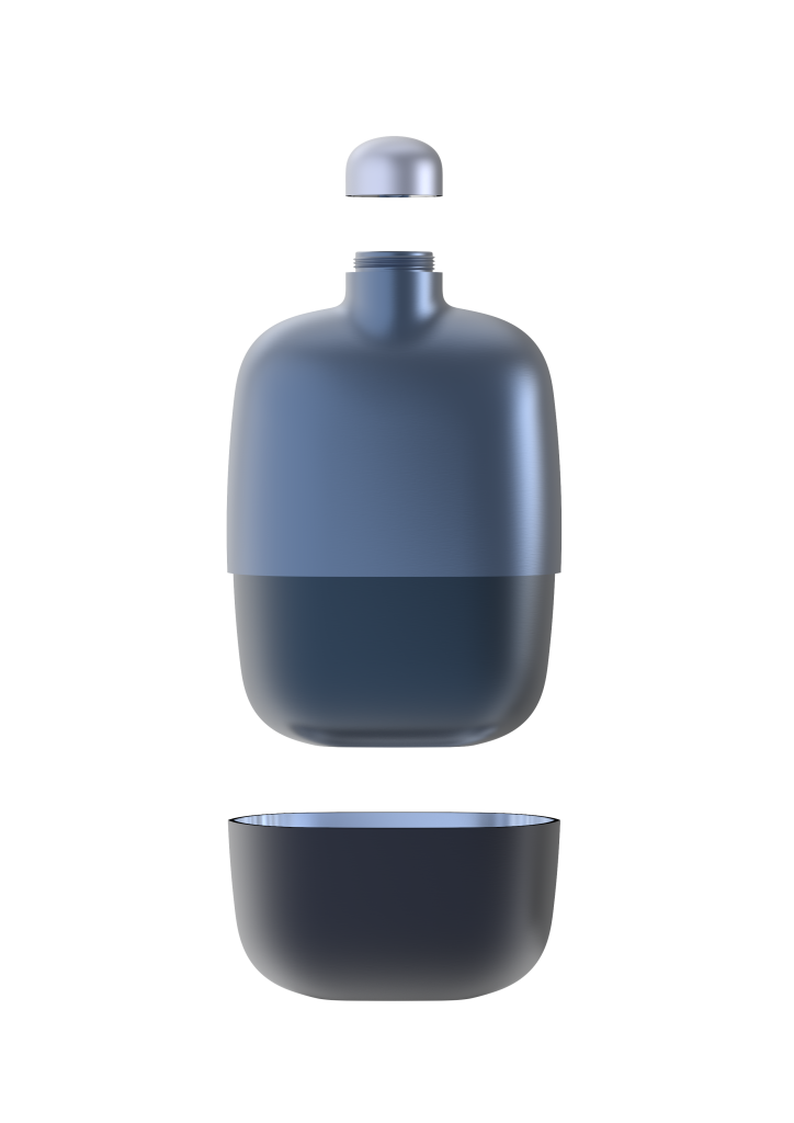 13. Grappa Flask Dark Blue open by S&B_filled with Grappa Nonino Monovitgno® Chardonnay in Barriques